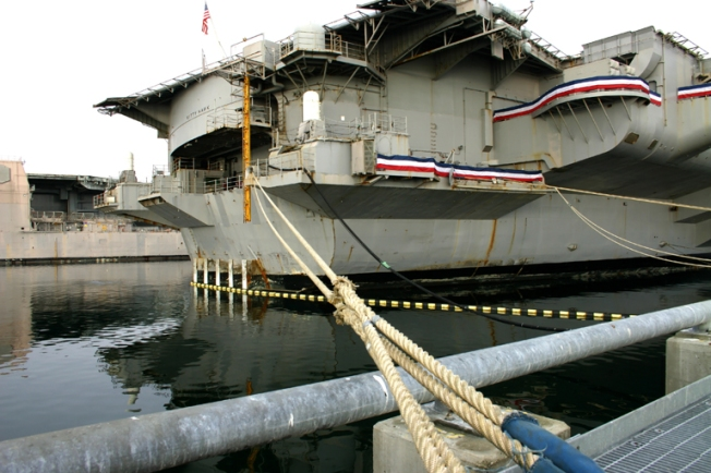 Aircraft Carrier and Mooring Lines