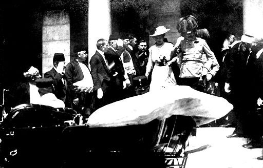 From Wikipedia: Archduke Franz Ferdinand and his wife Sofie in Sarajevo on 28 June 1914. Within minutes both would be dead.