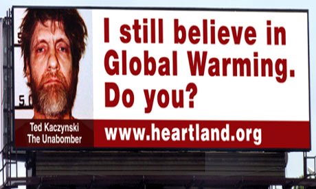 Billboards in Chicago paid for by The Heartland Institute along the inbound Eisenhower Expressway in Maywood, Illinois. Photograph: The Heartland Institute