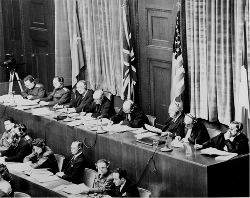 Seated in the back row are the eight members of the tribunal representing the four main Allied countries: the Soviet Union, Great Britain, the United States and France. Roland, Paul (2012-06-26). The Nuremberg Trials: The Nazis and Their Crimes Against Humanity (Kindle Locations 278-280). Arcturus Publishing. Kindle Edition.