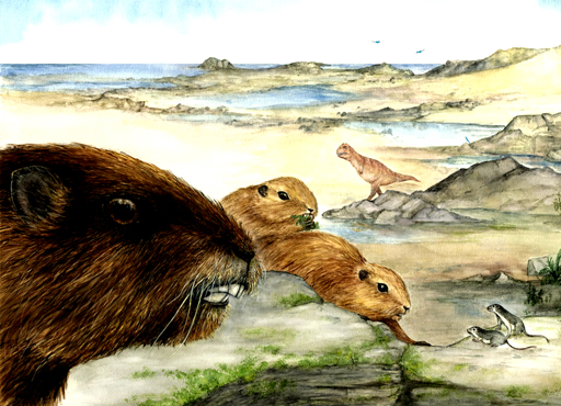 An artist's interpretation of the mammal Vintana sertichi, which lived during the time of the dinosaurs about 66 to 72 million years ago on the supercontinent Gondwana. Credit: Luci Betti-Nash