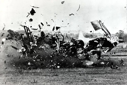Popperfoto,The Book, Volume 1,Page: 98, Picture: 5, John Derry's crash, as his D,H,plane hits the ground after breaking the sound barrier in flight, Farnborough air display, 1952 (Photo by Bentley Archive/Popperfoto/Getty Images)