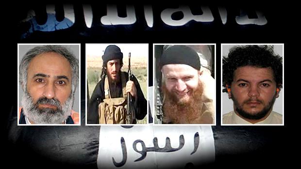 www.cbsnews.com ISIS leaders (left to right): Abd al-Rahman Mustafa al-Qaduli, Abu Mohammed al-Adnani, Tarkhan Tayumurazovich Batirashvili and Tariq Bin-al-Tahar Bin al-Falih al-Awni al-Harziv