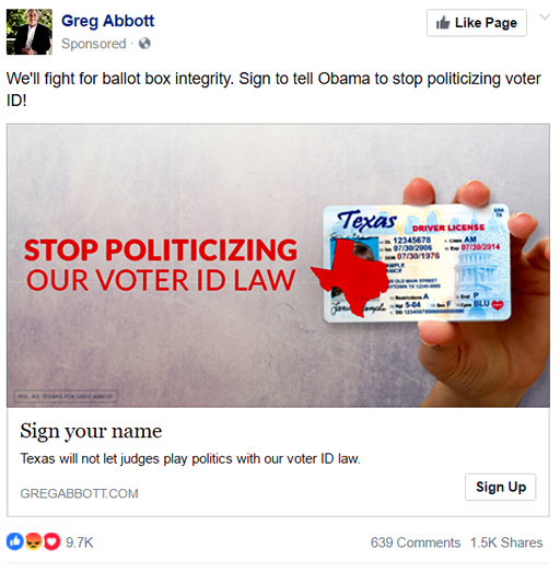 Politics-FacebookGregAbbottVoterID